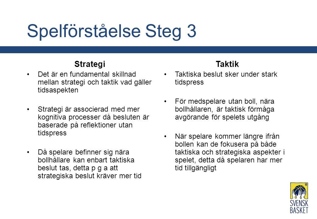 Spelförståelse Steg 3 Strategi Det är en fundamental skillnad mellan strategi och taktik vad gäller tidsaspekten Strategi är associerad med mer kognit