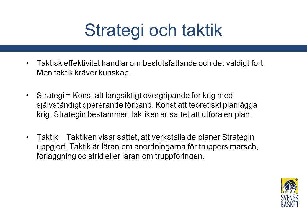 Strategi och taktik Taktisk effektivitet handlar om beslutsfattande och det väldigt fort. Men taktik kräver kunskap. Strategi = Konst att långsiktigt