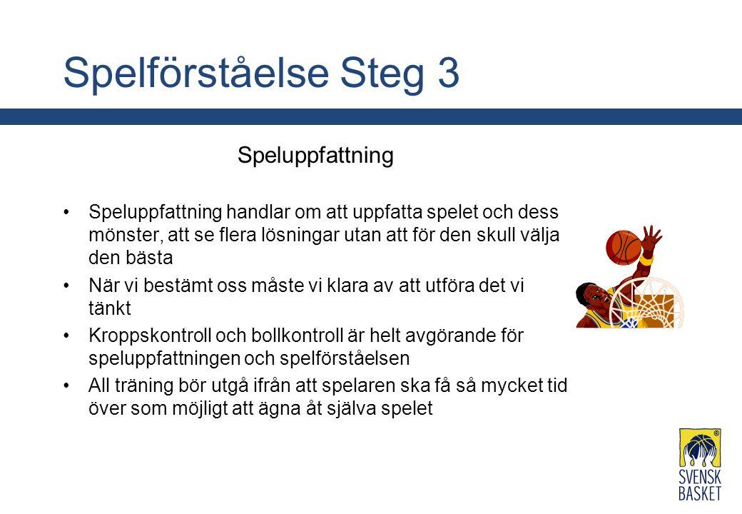 Spelförståelse Steg 3 Speluppfattning Speluppfattning handlar om att uppfatta spelet och dess mönster, att se flera lösningar utan att för den skull v
