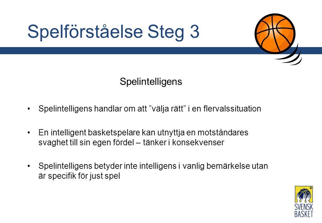 Spelförståelse Steg 3 Spelintelligens Spelintelligens handlar om att välja rätt i en flervalssituation En intelligent basketspelare kan utnyttja en motståndares svaghet till sin egen fördel – tänker i konsekvenser Spelintelligens betyder inte intelligens i vanlig bemärkelse utan är specifik för just spel