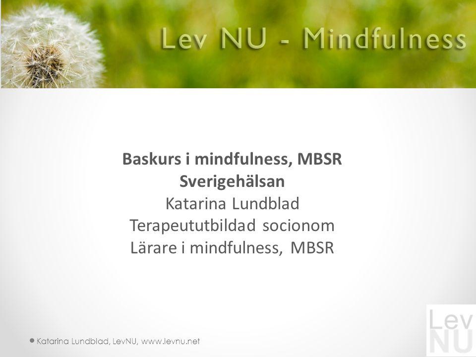 Katarina Lundblad, LevNU, www.levnu.net Baskurs i mindfulness, MBSR Sverigehälsan Katarina Lundblad Terapeututbildad socionom Lärare i mindfulness, MBSR