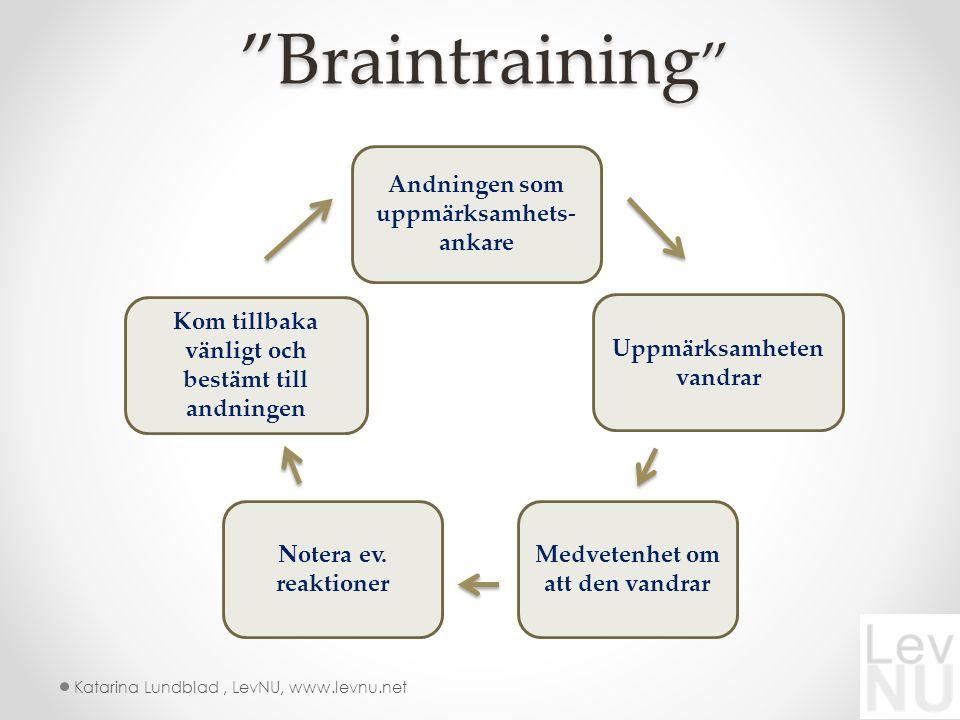 Braintraining Braintraining Andningen som uppmärksamhets- ankare Kom tillbaka vänligt och bestämt till andningen Notera ev.