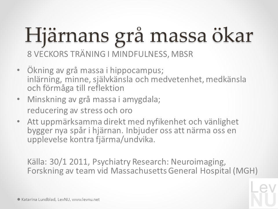 Hjärnans grå massa ökar Katarina Lundblad, LevNU, www.levnu.net 8 VECKORS TRÄNING I MINDFULNESS, MBSR Ökning av grå massa i hippocampus; inlärning, minne, självkänsla och medvetenhet, medkänsla och förmåga till reflektion Minskning av grå massa i amygdala; reducering av stress och oro Att uppmärksamma direkt med nyfikenhet och vänlighet bygger nya spår i hjärnan.