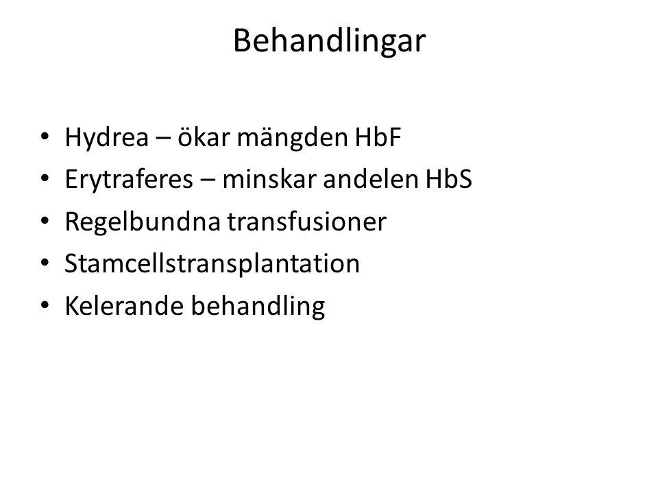 Behandlingar Hydrea – ökar mängden HbF Erytraferes – minskar andelen HbS Regelbundna transfusioner Stamcellstransplantation Kelerande behandling