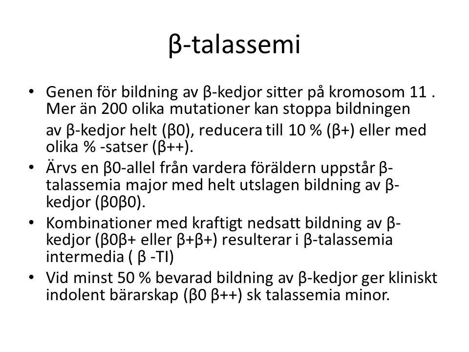 β-talassemi Genen för bildning av β-kedjor sitter på kromosom 11.
