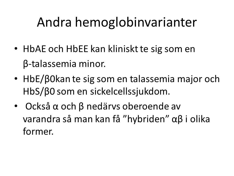 Andra hemoglobinvarianter HbAE och HbEE kan kliniskt te sig som en β-talassemia minor.