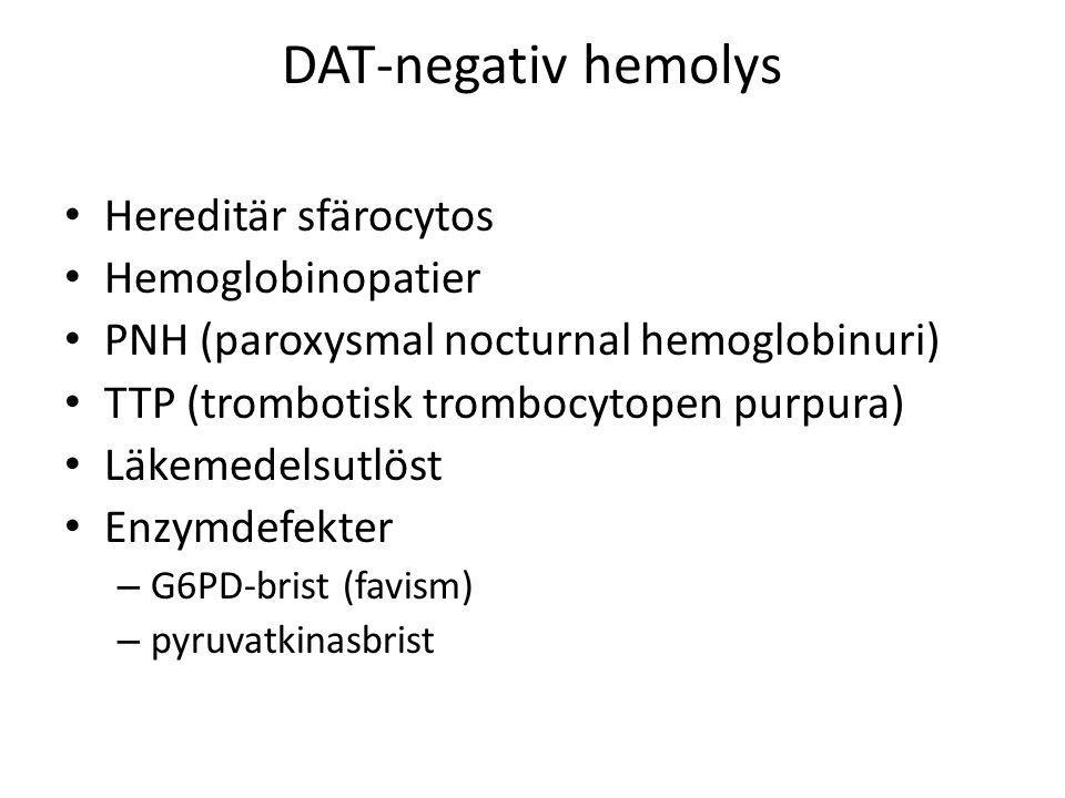 DAT-negativ hemolys Hereditär sfärocytos Hemoglobinopatier PNH (paroxysmal nocturnal hemoglobinuri) TTP (trombotisk trombocytopen purpura) Läkemedelsutlöst Enzymdefekter – G6PD-brist (favism) – pyruvatkinasbrist