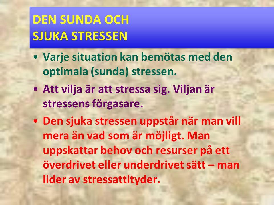 DEN SUNDA OCH SJUKA STRESSEN Varje situation kan bemötas med den optimala (sunda) stressen.