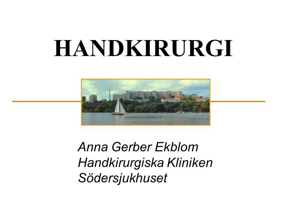 HANDKIRURGI NerverSkuldran (hela kroppen) SenorArmbågen BlodkärlUnderarm - Handled SkelettHandled – Hand