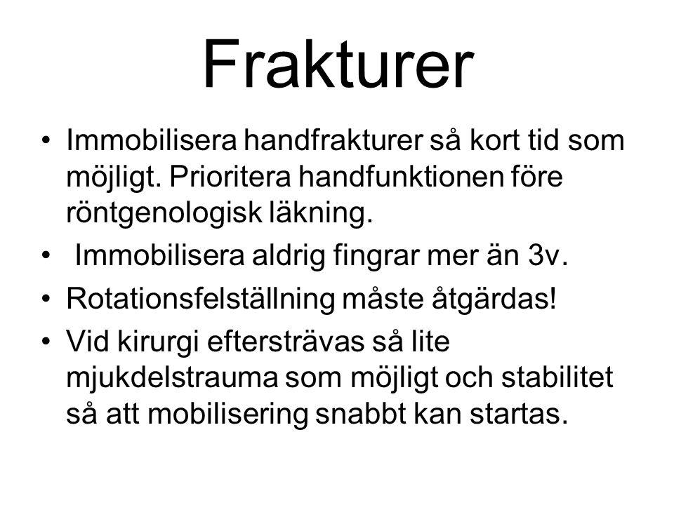 Frakturer Immobilisera handfrakturer så kort tid som möjligt. Prioritera handfunktionen före röntgenologisk läkning. Immobilisera aldrig fingrar mer ä