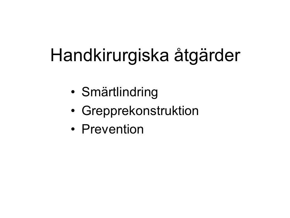 Handkirurgiska åtgärder Smärtlindring Grepprekonstruktion Prevention