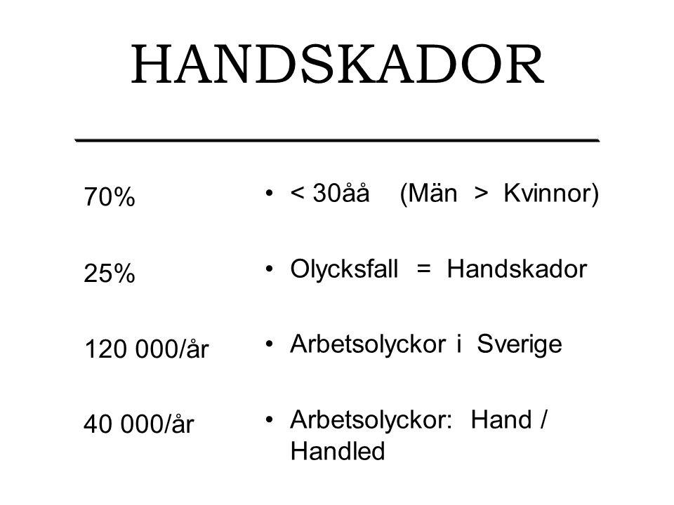 HANDSKADOR 70% 25% 120 000/år 40 000/år Kvinnor) Olycksfall = Handskador Arbetsolyckor i Sverige Arbetsolyckor: Hand / Handled