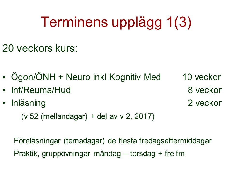 Terminens upplägg 1(3) 20 veckors kurs: Ögon/ÖNH + Neuro inkl Kognitiv Med 10 veckor Inf/Reuma/Hud8 veckor Inläsning2 veckor (v 52 (mellandagar) + del av v 2, 2017) Föreläsningar (temadagar) de flesta fredagseftermiddagar Praktik, gruppövningar måndag – torsdag + fre fm
