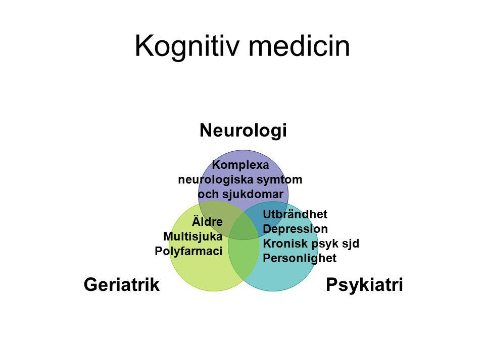 Kognitiv medicin Neurologi PsykiatriGeriatrik Utbrändhet Depression Kronisk psyk sjd Personlighet Komplexa neurologiska symtom och sjukdomar Äldre Multisjuka Polyfarmaci