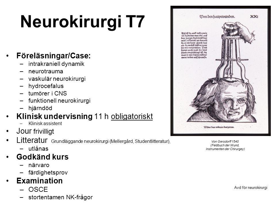 Neurokirurgi T7 Föreläsningar/Case: –intrakraniell dynamik –neurotrauma –vaskulär neurokirurgi –hydrocefalus –tumörer i CNS –funktionell neurokirurgi –hjärndöd Klinisk undervisning 11 h obligatoriskt –Klinisk assistent Jour frivilligt Litteratur Grundläggande neurokirurgi (Mellergård, Studentlitteratur), –utlånas Godkänd kurs –närvaro –färdighetsprov Examination –OSCE –stortentamen NK-frågor Avd för neurokirurgi Von Gersdorff 1540 (Feldbuch der Wund, Instrumenten der Chirurgey)