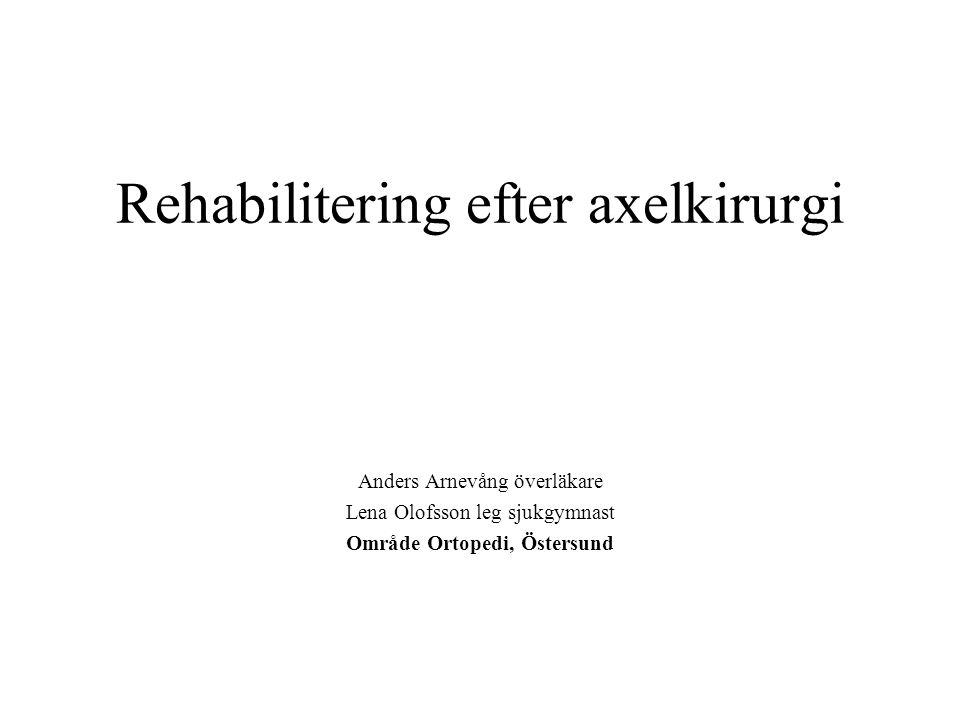 Rehabilitering efter axelkirurgi Anders Arnevång överläkare Lena Olofsson leg sjukgymnast Område Ortopedi, Östersund
