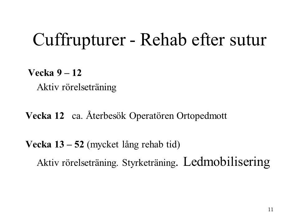 Cuffrupturer - Rehab efter sutur Vecka 9 – 12 Aktiv rörelseträning Vecka 12 ca. Återbesök Operatören Ortopedmott Vecka 13 – 52 (mycket lång rehab tid)