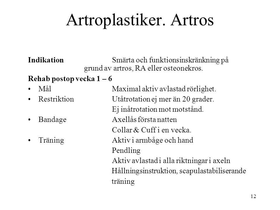 12 Artroplastiker. Artros IndikationSmärta och funktionsinskränkning på grund av artros, RA eller osteonekros. Rehab postop vecka 1 – 6 MålMaximal akt