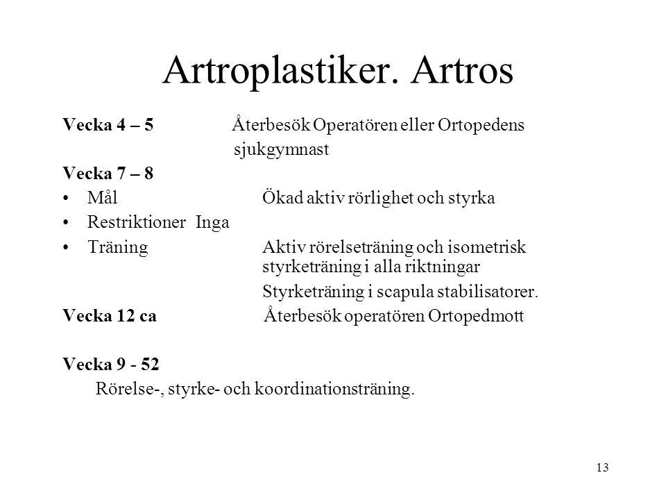 13 Artroplastiker. Artros Vecka 4 – 5 Återbesök Operatören eller Ortopedens sjukgymnast Vecka 7 – 8 MålÖkad aktiv rörlighet och styrka RestriktionerIn