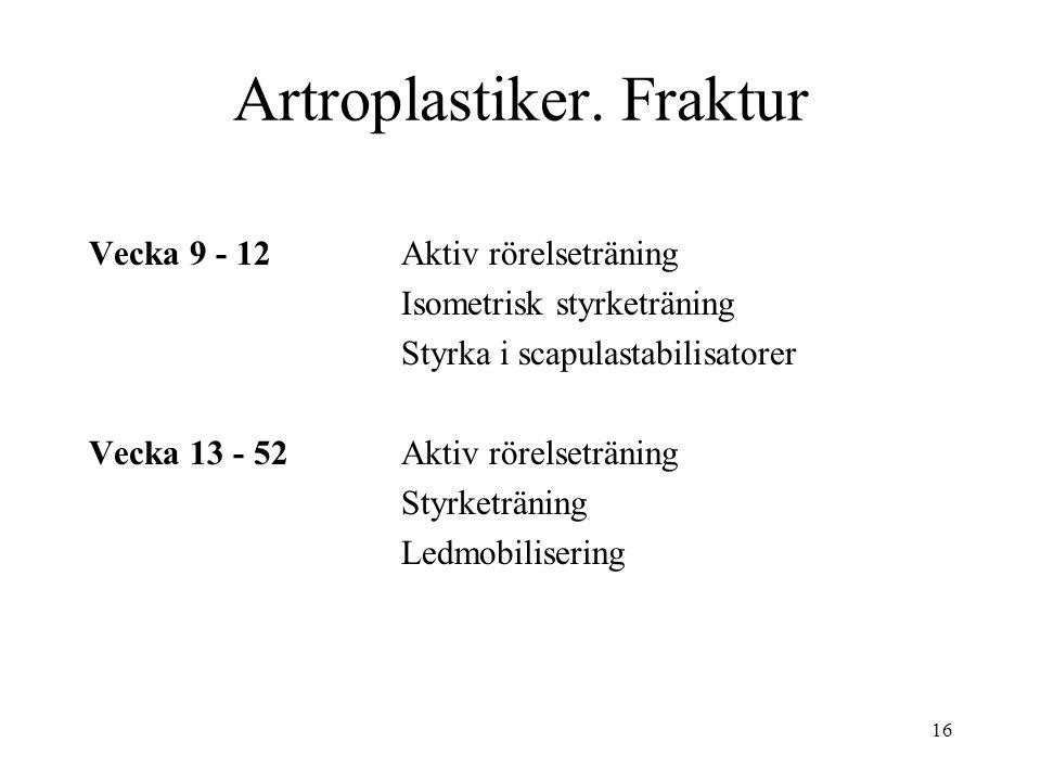 16 Artroplastiker. Fraktur Vecka 9 - 12Aktiv rörelseträning Isometrisk styrketräning Styrka i scapulastabilisatorer Vecka 13 - 52Aktiv rörelseträning