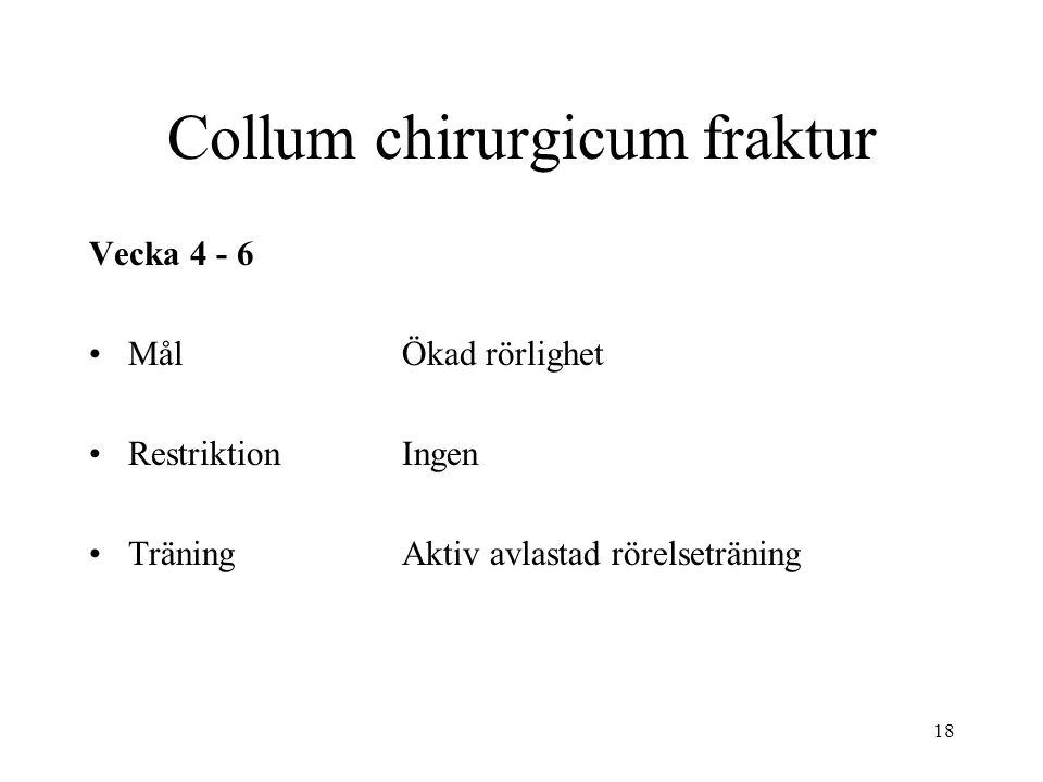 18 Collum chirurgicum fraktur Vecka 4 - 6 MålÖkad rörlighet RestriktionIngen TräningAktiv avlastad rörelseträning