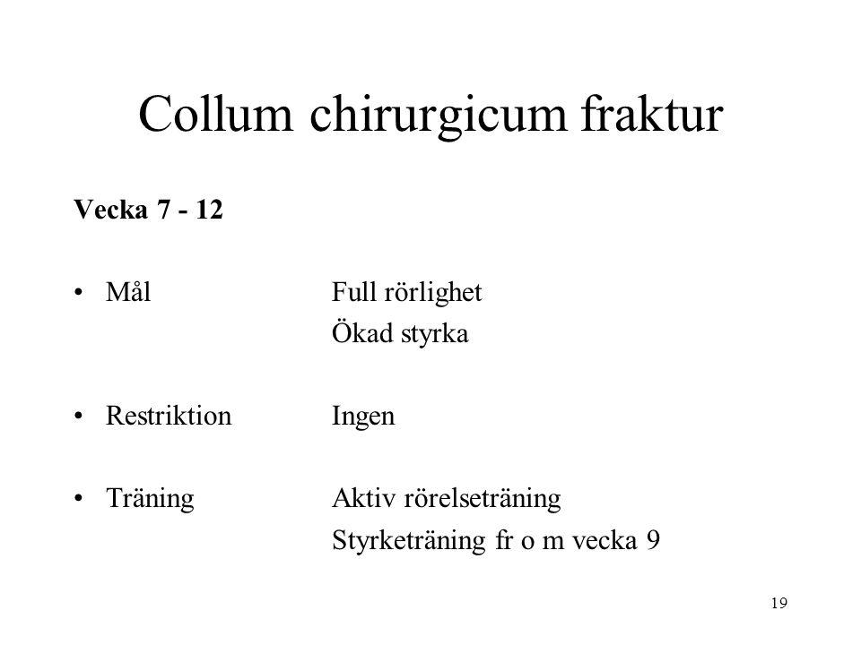 19 Collum chirurgicum fraktur Vecka 7 - 12 MålFull rörlighet Ökad styrka RestriktionIngen TräningAktiv rörelseträning Styrketräning fr o m vecka 9