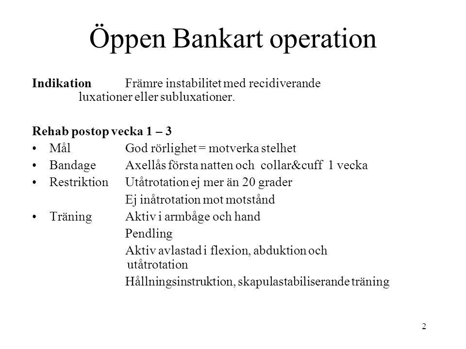 2 Öppen Bankart operation IndikationFrämre instabilitet med recidiverande luxationer eller subluxationer. Rehab postop vecka 1 – 3 Mål God rörlighet =
