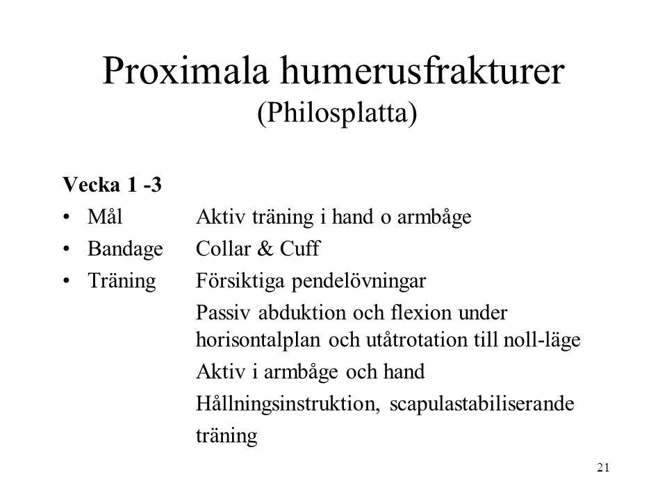 21 Proximala humerusfrakturer (Philosplatta) Vecka 1 -3 MålAktiv träning i hand o armbåge BandageCollar & Cuff TräningFörsiktiga pendelövningar Passiv abduktion och flexion under horisontalplan och utåtrotation till noll-läge Aktiv i armbåge och hand Hållningsinstruktion, scapulastabiliserande träning