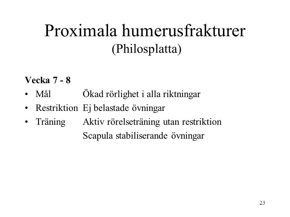 23 Proximala humerusfrakturer (Philosplatta) Vecka 7 - 8 MålÖkad rörlighet i alla riktningar RestriktionEj belastade övningar TräningAktiv rörelseträning utan restriktion Scapula stabiliserande övningar