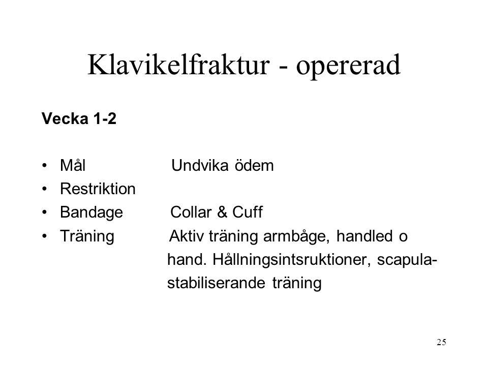 Klavikelfraktur - opererad Vecka 1-2 Mål Undvika ödem Restriktion Bandage Collar & Cuff Träning Aktiv träning armbåge, handled o hand. Hållningsintsru