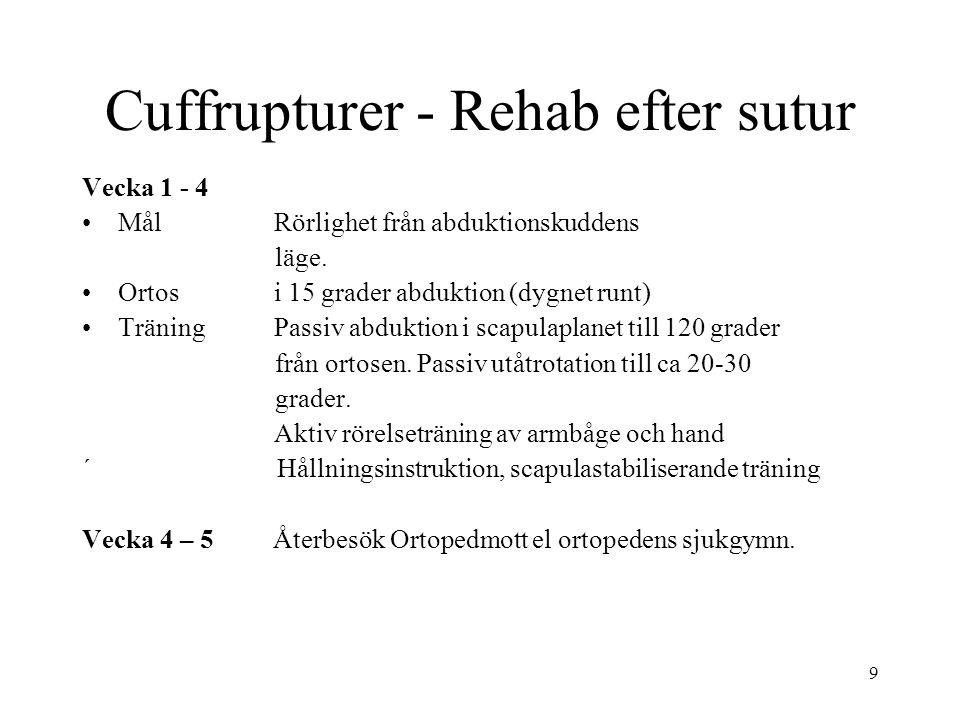 9 Vecka 1 - 4 Mål Rörlighet från abduktionskuddens läge. Ortos i 15 grader abduktion (dygnet runt) TräningPassiv abduktion i scapulaplanet till 120 gr