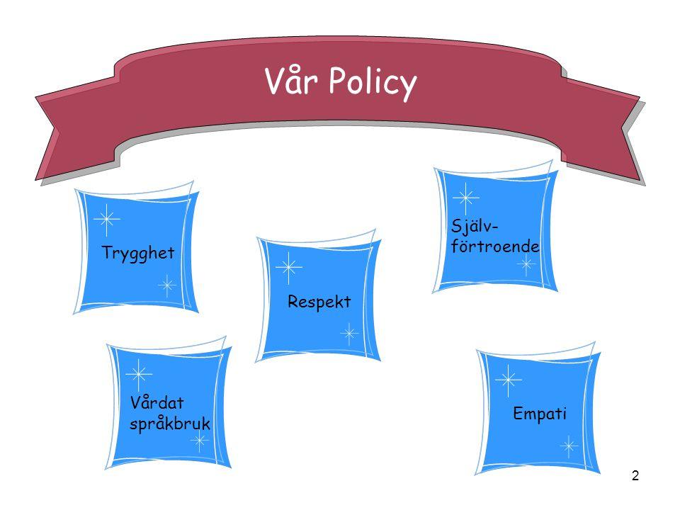 2 Vår Policy Trygghet Vårdat språkbruk Empati Respekt Själv- förtroende