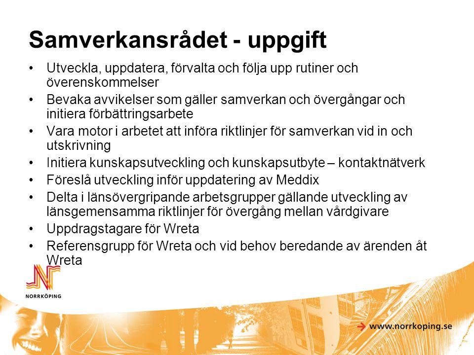 Gemensamma dokument Riktlinjer för samverkan vid in och utskrivning av patienter i sluten vård i Östergötland Avtal om läkarmedverkan i kommunal hälso- och sjukvård Rutin för läkar till läkarkontakt vid överflyttning till korttidsboende Förteckning över hälso- och sjukvårdsinsatser Underlag för beställning av hälso- och sjukvårdsinsatser som utförs av hemtjänst Riktlinjer för delegering Riktlinjer för samverkan mellan vårdgivare avseende hemmapärm Riktlinjer för vårdkonferens och gemensam individuell vårdplanering Samverkansrådets handlingsprogram för avvikelsehantering Riktlinjer för läkemedelshantering inom hemtjänst Läkemedel i kommunens säbo och hemsjukvård – generell behandlingsanvisning