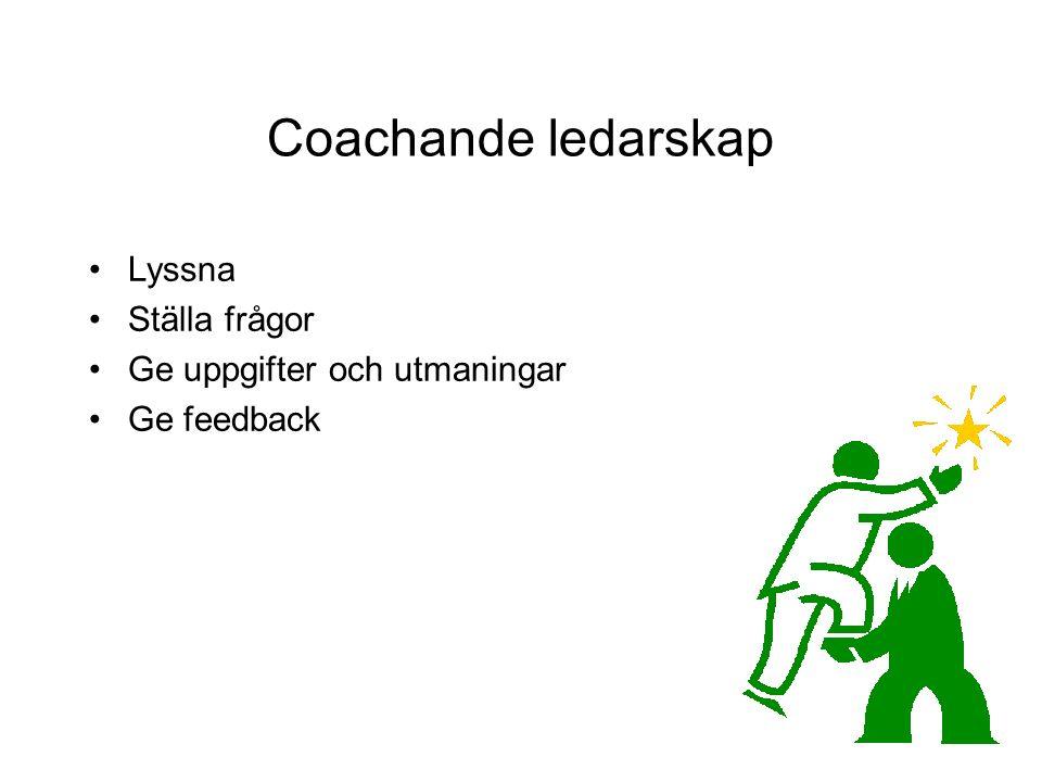 Coachande ledarskap Lyssna Ställa frågor Ge uppgifter och utmaningar Ge feedback