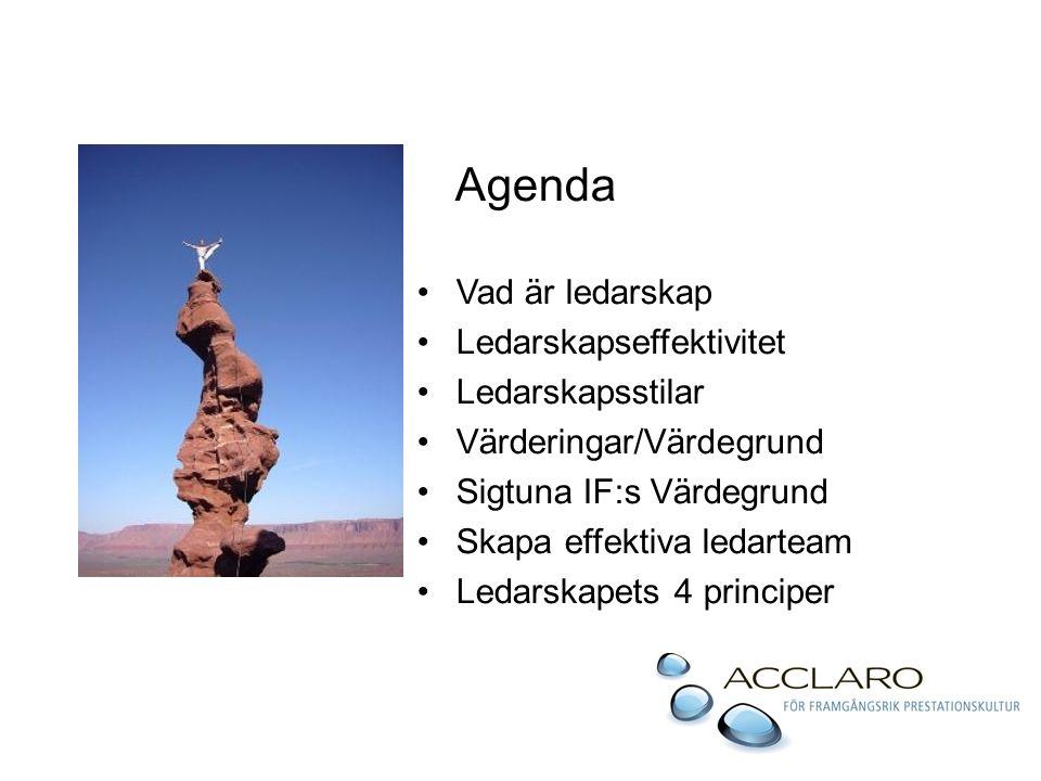 Agenda Vad är ledarskap Ledarskapseffektivitet Ledarskapsstilar Värderingar/Värdegrund Sigtuna IF:s Värdegrund Skapa effektiva ledarteam Ledarskapets 4 principer