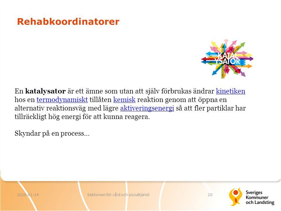 Rehabkoordinatorer 2016-01-14Sektionen för vård och socialtjänst20 En katalysator är ett ämne som utan att själv förbrukas ändrar kinetiken hos en ter