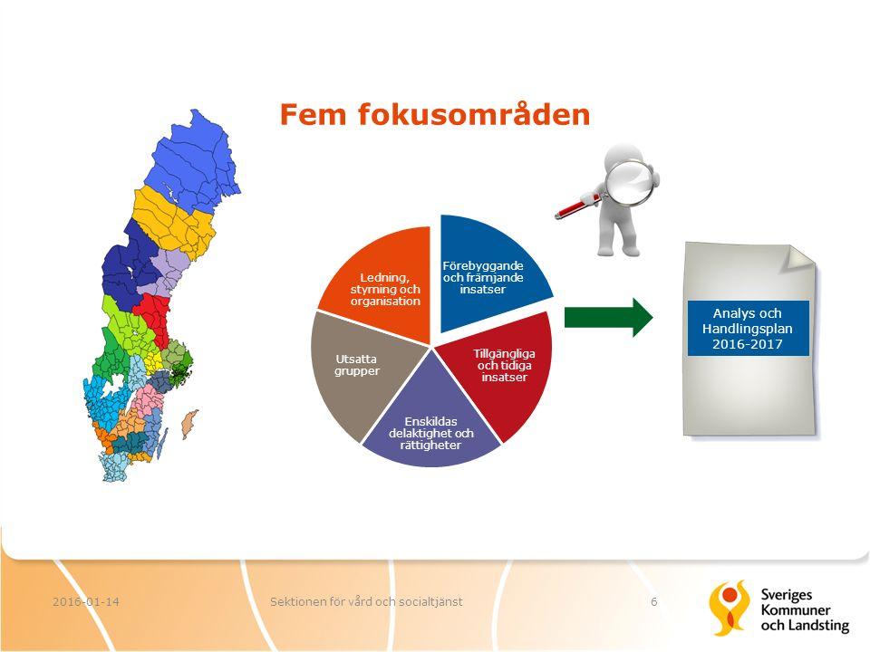 Fem fokusområden 2016-01-14Sektionen för vård och socialtjänst6 Förebyggande och främjande insatser Tillgängliga och tidiga insatser Enskildas delaktighet och rättigheter Utsatta grupper Ledning, styrning och organisation Analys och Handlingsplan 2016-2017