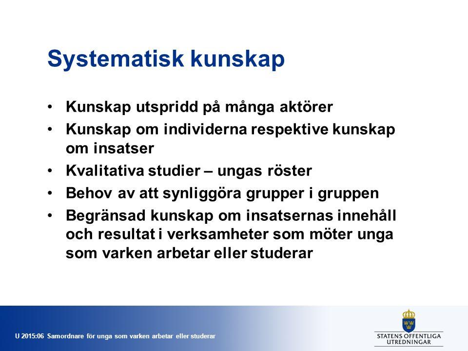 U 2015:06 Samordnare för unga som varken arbetar eller studerar Systematisk kunskap Kunskap utspridd på många aktörer Kunskap om individerna respektiv