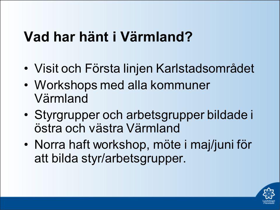 Vad har hänt i Värmland? Visit och Första linjen Karlstadsområdet Workshops med alla kommuner Värmland Styrgrupper och arbetsgrupper bildade i östra o