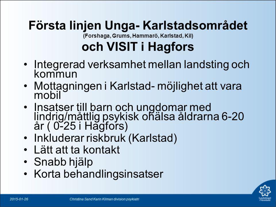 Första linjen Unga- Karlstadsområdet (Forshaga, Grums, Hammarö, Karlstad, Kil) och VISIT i Hagfors Integrerad verksamhet mellan landsting och kommun M