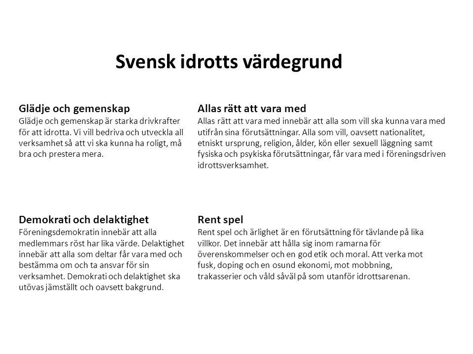 Svensk idrotts värdegrund Demokrati och delaktighet Föreningsdemokratin innebär att alla medlemmars röst har lika värde. Delaktighet innebär att alla