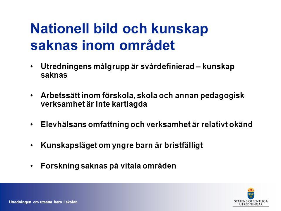 Utredningen om utsatta barn i skolan Nationell bild och kunskap saknas inom området Utredningens målgrupp är svårdefinierad – kunskap saknas Arbetssät