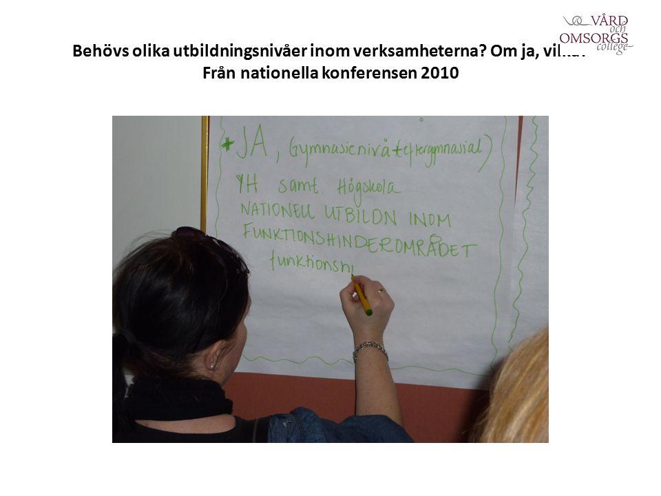 Behövs olika utbildningsnivåer inom verksamheterna Om ja, vilka Från nationella konferensen 2010