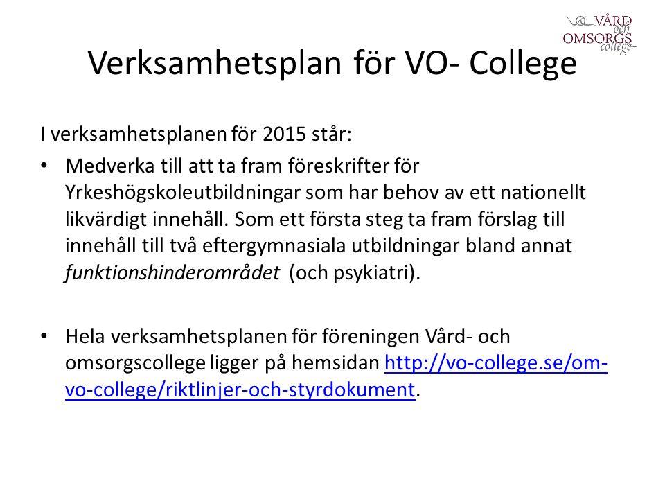 Verksamhetsplan för VO- College I verksamhetsplanen för 2015 står: Medverka till att ta fram föreskrifter för Yrkeshögskoleutbildningar som har behov av ett nationellt likvärdigt innehåll.