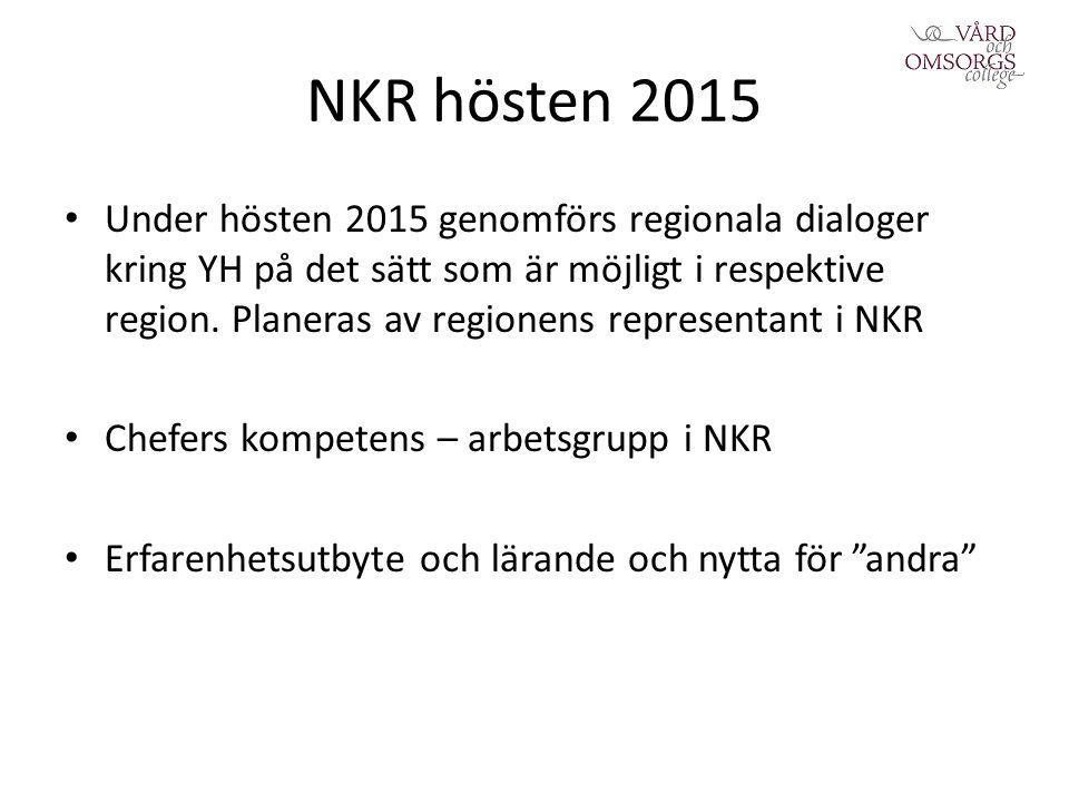 NKR hösten 2015 Under hösten 2015 genomförs regionala dialoger kring YH på det sätt som är möjligt i respektive region.