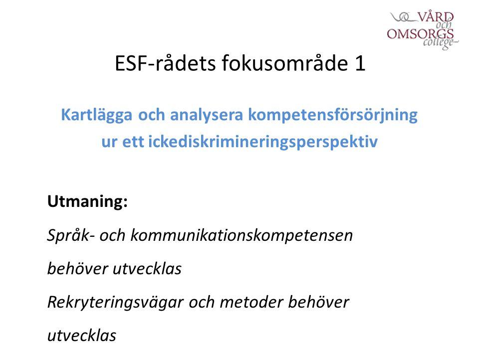 ESF-rådets fokusområde 1 Kartlägga och analysera kompetensförsörjning ur ett ickediskrimineringsperspektiv Utmaning: Språk- och kommunikationskompetensen behöver utvecklas Rekryteringsvägar och metoder behöver utvecklas
