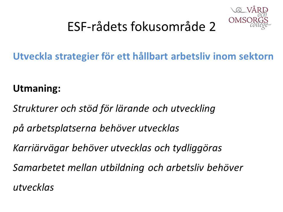 ESF-rådets fokusområde 2 Utveckla strategier för ett hållbart arbetsliv inom sektorn Utmaning: Strukturer och stöd för lärande och utveckling på arbetsplatserna behöver utvecklas Karriärvägar behöver utvecklas och tydliggöras Samarbetet mellan utbildning och arbetsliv behöver utvecklas
