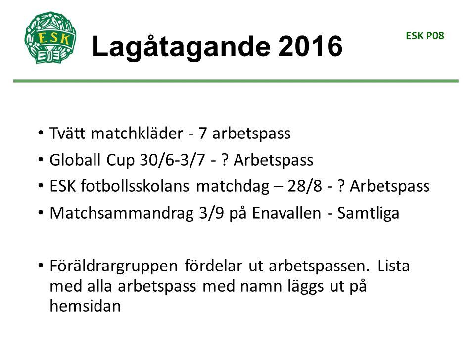 ESK P08 Tvätt matchkläder - 7 arbetspass Globall Cup 30/6-3/7 - .