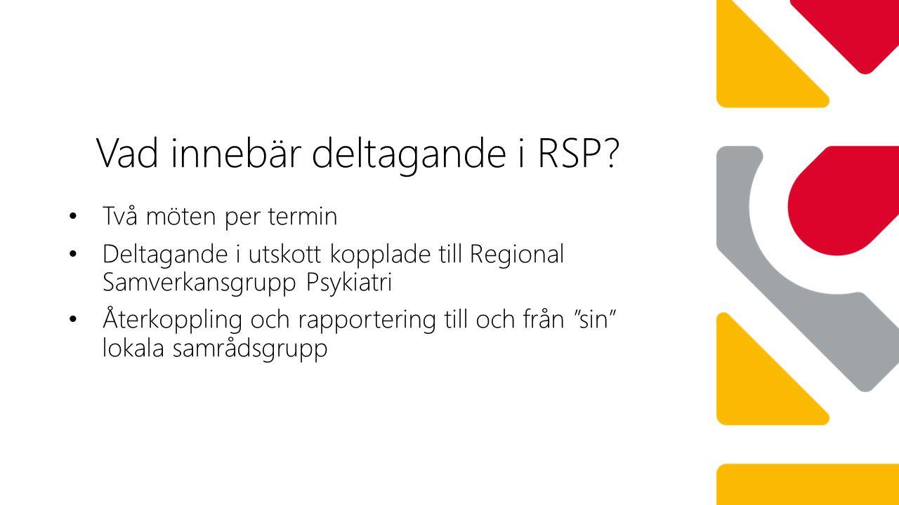 Två möten per termin Deltagande i utskott kopplade till Regional Samverkansgrupp Psykiatri Återkoppling och rapportering till och från sin lokala samrådsgrupp Vad innebär deltagande i RSP