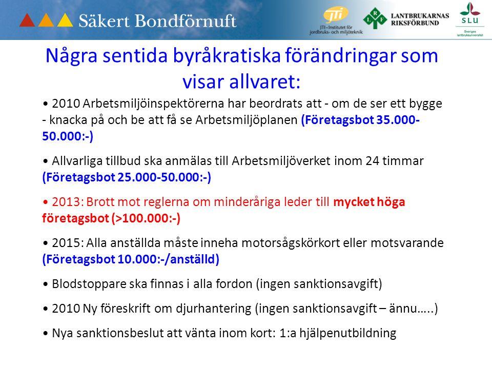 Några sentida byråkratiska förändringar som visar allvaret: 2010 Arbetsmiljöinspektörerna har beordrats att - om de ser ett bygge - knacka på och be att få se Arbetsmiljöplanen (Företagsbot 35.000- 50.000:-) Allvarliga tillbud ska anmälas till Arbetsmiljöverket inom 24 timmar (Företagsbot 25.000-50.000:-) 2013: Brott mot reglerna om minderåriga leder till mycket höga företagsbot (>100.000:-) 2015: Alla anställda måste inneha motorsågskörkort eller motsvarande (Företagsbot 10.000:-/anställd) Blodstoppare ska finnas i alla fordon (ingen sanktionsavgift) 2010 Ny föreskrift om djurhantering (ingen sanktionsavgift – ännu…..) Nya sanktionsbeslut att vänta inom kort: 1:a hjälpenutbildning